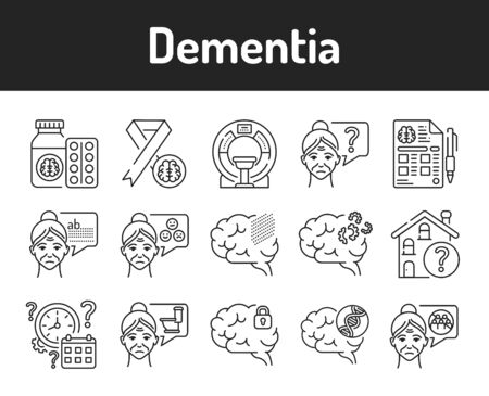 Brain disease dementia line black icons set. Decline in memory. Decrease in mental human abilities. Vector Illustratie