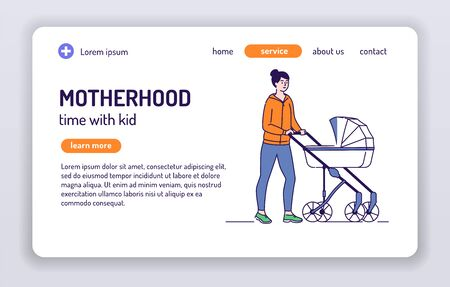 Young mother walks with baby carriage web banner. Rest on nature. Isolated cartoon character on a white background. Concept for web page, smm, ad, site. Vector illustration. UX UI GUI design. Vettoriali
