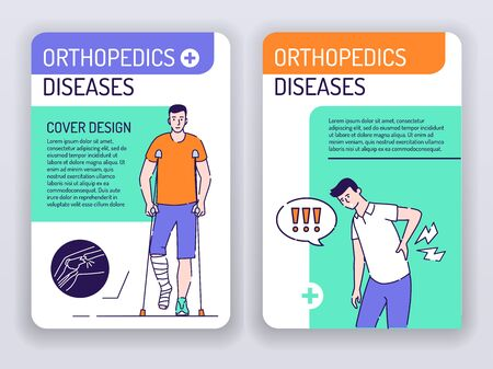 Orthopedics diseases web banner brochures template. Man with back pain and male with a broken leg cover design. Print design with linear illustrations cartoon character on a turquoise background Ilustracja