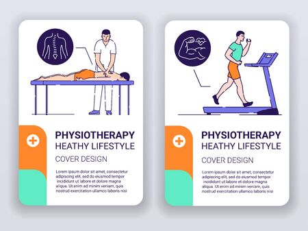 Physiotherapy web banner brochures template. Doctor massages patient and cardio workout. Print design with linear illustrations cartoon character on turquoise background