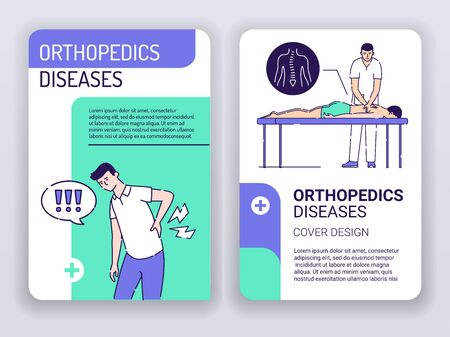 Orthopedics diseases and physiotherapy web banner brochures template. Man with back pain and doctor massages patient. Print design with linear illustrations cartoon character on turquoise background.