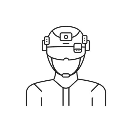 Augmented reality in military black line icon. Man in VR helmet. Pictogram for web page, mobile app, promo. UI UX GUI design element. Editable stroke.