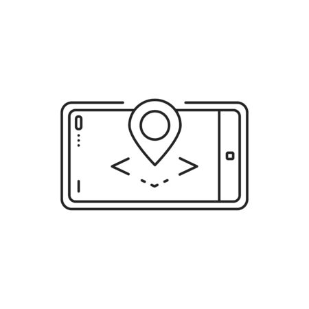 Augmented reality map black line icon. Geo location app in smartphone. Pictogram for web page, mobile app, promo. UI UX GUI design element. Editable stroke