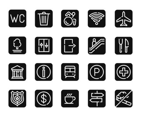 Public navigation black glyph icons set .Pictograms for web page, mobile app, promo. UI UX GUI design elements. Editable stroke.