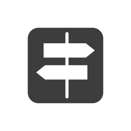 Directional arrow road black glyph icon. City guide. Public navigation. Pictogram for web page, mobile app, promo. UI UX GUI design element. Editable stroke.