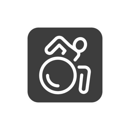 Wheelchair person black glyph icon. Public navigation. Pictogram for web page, mobile app, promo. UI UX GUI design element. Editable stroke Ilustración de vector