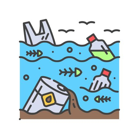 Water pollution color line icon. Environmental problems. Sign for web page, app. UI UX GUI design element. Editable stroke.