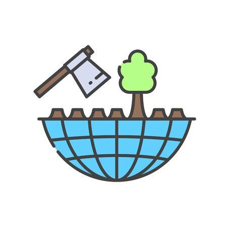 Deforestation color line icon. Environmental problems. Sign for web page, app. UI UX GUI design element. Editable stroke