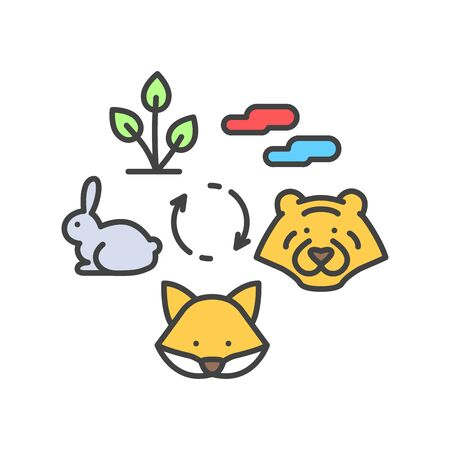 Food chain color line icon. Nature eating model. Sign for web page, app. UI UX GUI design element. Editable stroke Illusztráció