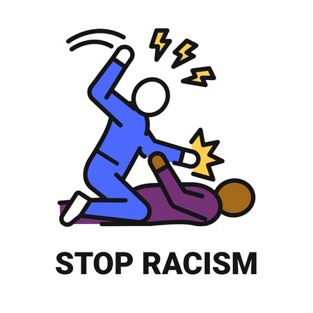 Stop racism black line icon. Harassment, beat and violence.