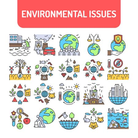 Environmental issues color line icons set. Signs for web page, app. UI UX GUI design element. Editable stroke.