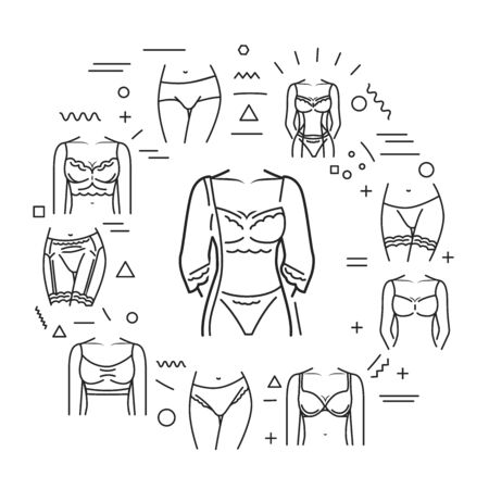 Lingerie web banner. Category of women's clothing including at least undergarments, sleepwear and lightweight robes. Infographics with linear icons on white background. Creative idea concept.