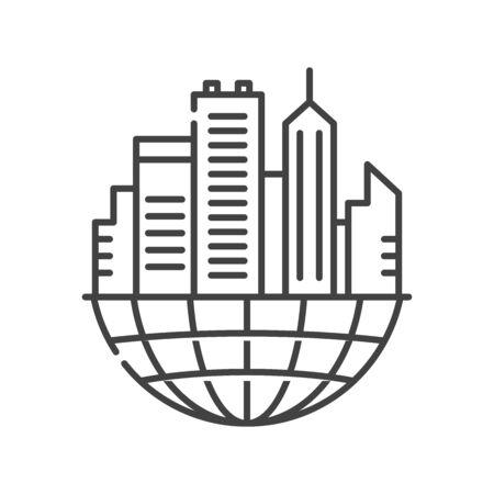 Urban sprawl black line icon. Urbanization. Expansion of megalopolises. Environmental problems. Sign for web page, app. UI UX GUI design element. Editable stroke. Vektorgrafik
