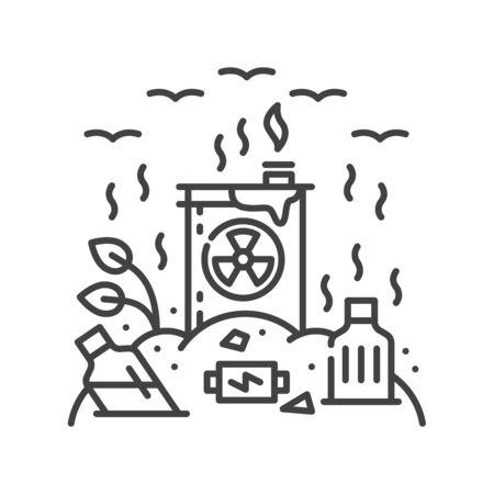 Land degradation black line icon. Ecological disaster. Sign for web page, app. UI UX GUI design element. Editable stroke Vektorgrafik