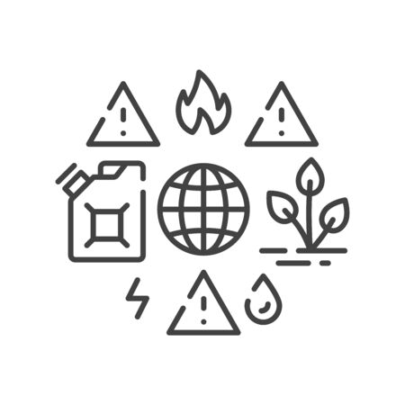 Lack natural resources black line icon. Overconsumption. Environmental problems. Sign for web page, app. UI UX GUI design element. Editable stroke. Иллюстрация