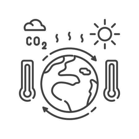Climate change black line icon. Environmental problems. Sign for web page, app. UI UX GUI design element. Editable stroke