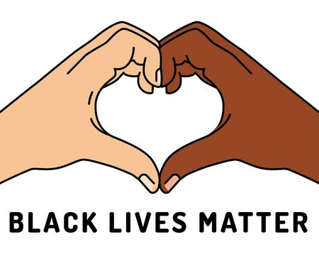 Black lives matter vector illustration. Rally or awareness campaign against racial discrimination of dark skin color. Support for equal rights of black people. 일러스트