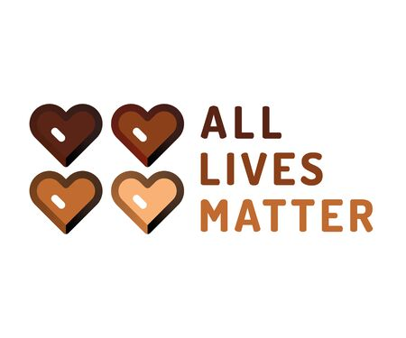 All lives matter vector illustration. Rally or awareness campaign against racial discrimination of dark skin color. Support for equal rights of black people.