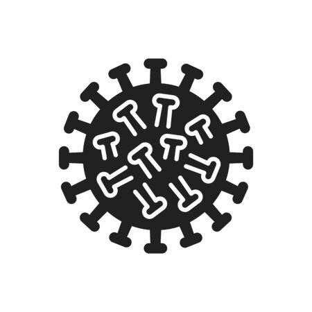 Microorganism rotavirus black glyph icon. Gastric flu infectious disease concept. Virus epidemic alert. Pictogram for web, mobile app, promo. UI UX design element
