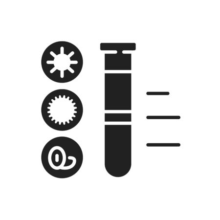 Composition blood black glyph icon. Elements blood in test tube concept. Medical and scientific concept. Pictogram for web, mobile app, promo. UI UX design element