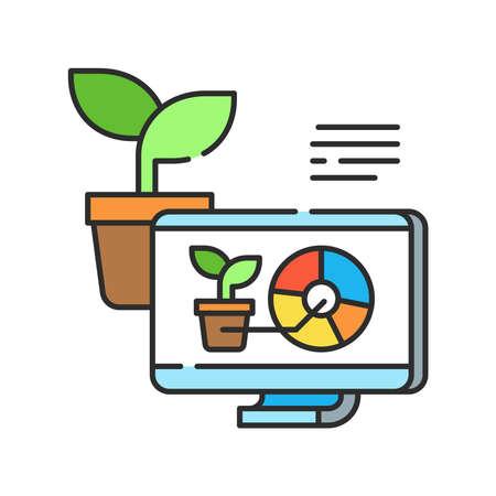 Plant management color line icon. Smart farm. Sign for web page, app. UI UX GUI design element. Editable stroke Vektorové ilustrace