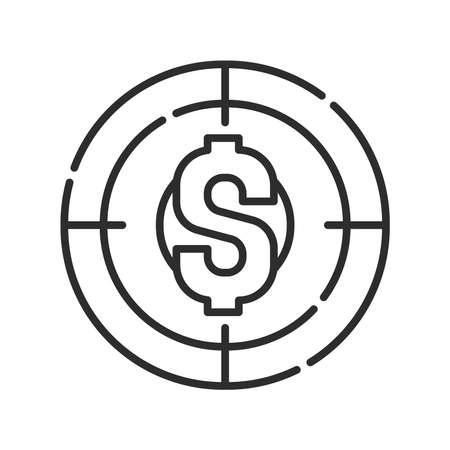 Financial goal black line icon. Investment planning. Pictogram for web page, mobile app, promo. UI UX GUI design element. Editable stroke. Vettoriali