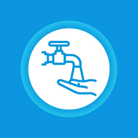 Wash hands color button. Hygiene icon. Pictogram for web page, mobile app, promo. Editable stroke.  イラスト・ベクター素材