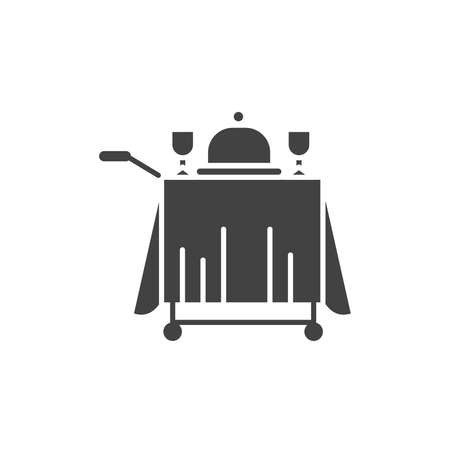 Food in the room black glyph icon. Hotel maid service symbol. Breakfast, lunch, dinner. Hotel amenities. Pictogram for web page, mobile app, promo. UI UX GUI design element.