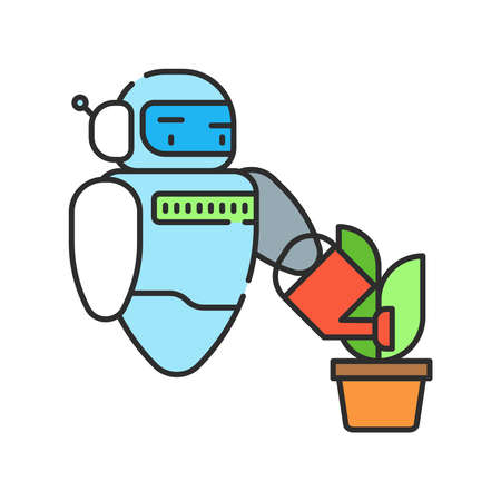 Smart robotic farmers analyze the growth and harvesting plants. Futuristic robot arm automation to increase efficiency. Industry robot color line icon. IOT. Smart farm. Sign for web page, app. UI UX GUI design element. Editable stroke.