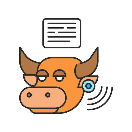System monitoring the bull with the help of sensors. Smart farming color linear icon. Checking animal. Animal husbandry. Agricultural IOT. Sign for web page, app. UI UX GUI design element. Editable stroke. Pixel Perfect.