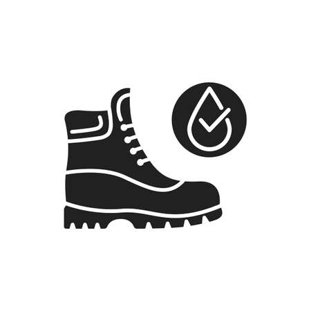 Waterproof shoes black glyph icon. Water repellent footwear concept. Pictogram for web page, mobile app, promo. UI UX GUI design element Ilustração