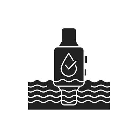Waterproof smart watch black glyph icon. Water repellent device concept. Innovation technology. Pictogram for web page, mobile app, promo. UI UX GUI design element