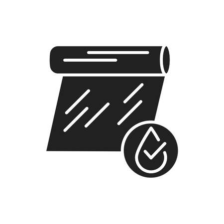Transparent waterproof film black glyph icon. Water repellent coating material concept. Pictogram for web page, mobile app, promo. UI UX GUI design element