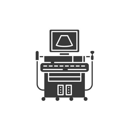 Digital ultrasonic diagnostic system glyph black icon. Examination of the abdominal cavity concept. Sign for web page, mobile app. Vector isolated element