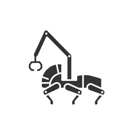 Transport robot black glyph icon. Woodworking industry. Innovation in technology. Sign for web page, app. UI UX GUI design element