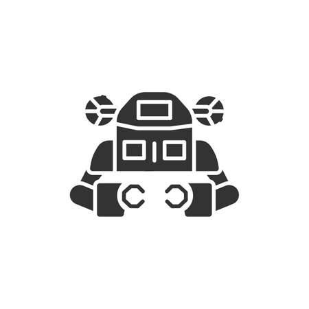 Underwater robot black glyph icon. Aquanaut, an autonomous electric submarine. Innovation in technology. Sign for web page, app. UI UX GUI design element