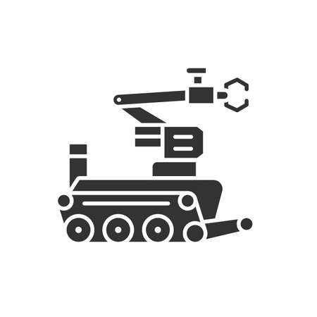 Military robot black glyph icon. Bomb-disposal robot or explosive ordnance disposal EOD. Innovation in technology. Sign for web page, app. UI UX GUI design element