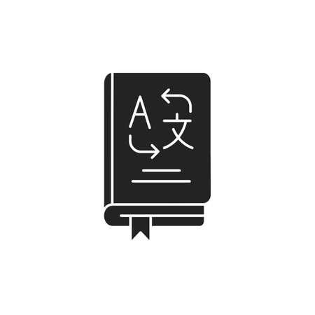 Vocabulary black glyph icon. Translate words from different languages. Pictogram for web page, mobile app, promo. UI UX GUI design element