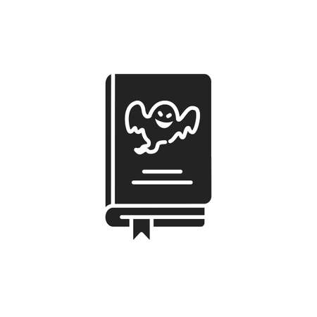 Horror book black glyph icon. A genre of speculative fiction which is intended to scare. Pictogram for web page, mobile app, promo. UI UX GUI design element. Ilustrace