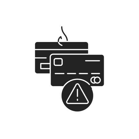 Banking scam black black icon. Credit card phishing. Illegal action. Financial fraud. Pictogram for web page, mobile app, promo. UI UX GUI design element