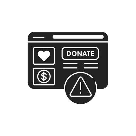 Charity scam black glyph icon. Cybercrime. Fake donation. Pictogram for web page, mobile app, promo. UI UX GUI design element Illustration