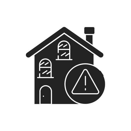 Home rental scam black glyph icon. Illegal action. Using high-pressure tactics to get victims to pay the rent in advance.Pictogram for web page, mobile app, promo. UI UX GUI design element. Vettoriali