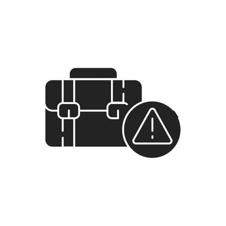 Employment scam black glyph icon on white background. Jobs fraud. Fake promise to give a job. Pictogram for web page, mobile app, promo. UI UX GUI design element Vettoriali