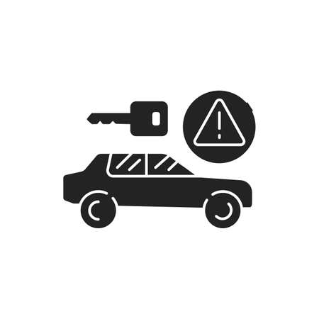 Car rental scam black glyph icon. Tricking victims into paying a deposit or the full rental fee before receiving the car. Pictogram for web page, mobile app, promo