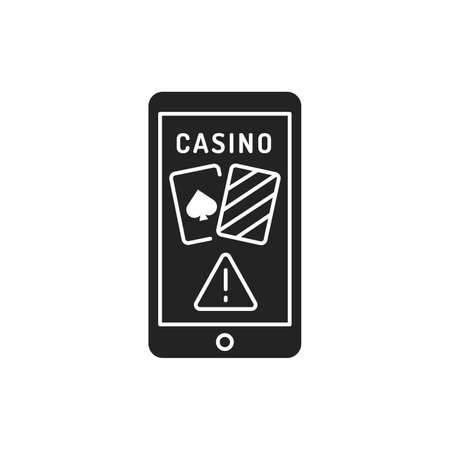 Online casino scam black glyph icon on white background. Illegal bets. Virtual money. Pictogram for web page, mobile app, promo. UI UX GUI design element