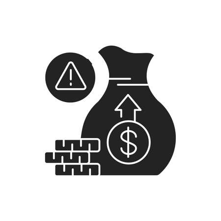 Investment scam black glyph icon on white background. Cash fraud. Losses. Bankruptcy. Illegal business. Pictogram for web page, mobile app, promo. UI UX GUI design element
