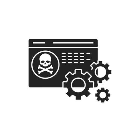 Software scam black glyph icon on white background. Web fraud. Fake programs. Malware. Pictogram for web page, mobile app, promo. UI UX GUI design element