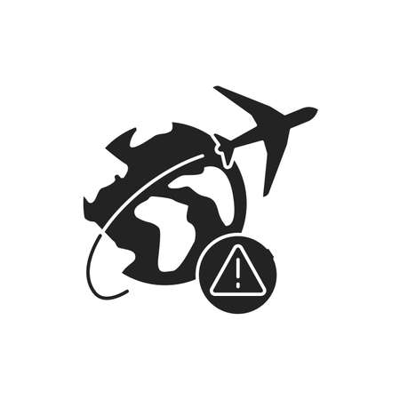 Travel scam black glyph icon on white background. Fake travel companies. Fraud plane tickets. Pictogram for web page, mobile app, promo. UI UX GUI design element