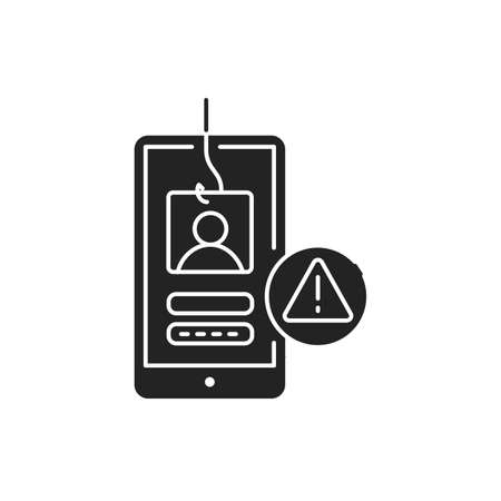 Phishing black glyph icon. Internet scam. Hacking account and password. Pictogram for web page, mobile app, promo. UI UX GUI design element