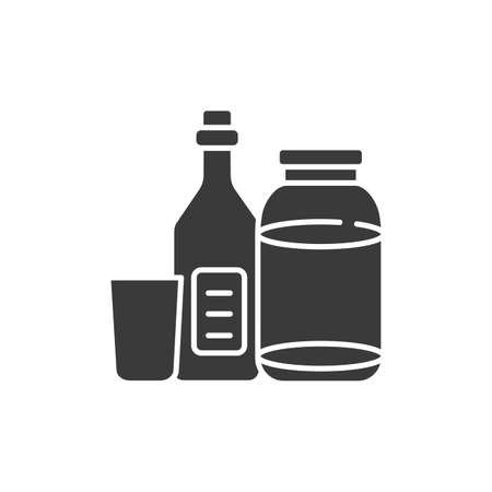 Recyclable glass tools glyph black icon. Kitchenware pictograms: bottle and jar, cup. Waste recycling. Garbage sorting. Eco friendly. UI UX GUI design element